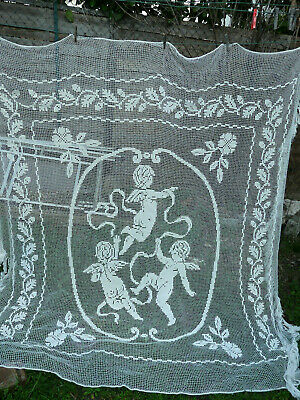 French Antique Filet Lace Bedspread With Flowers And Cherubs Circa 1900 Superb
