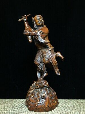 Collectable Rare Boxwood Carving Old Man Hand Stick Auspicious Beautiful Statue