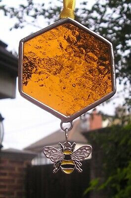 Stained Glass Honeycomb with Bumble Bee Charm, Suncatcher, Handmade in England