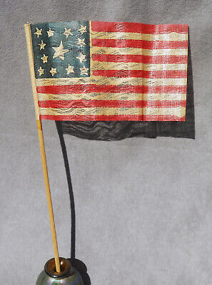 Antique American Parade Flag 13 STARS - 1876 Centenial USA July 4th Independence