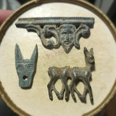 Lot of 3 Ancient Box Decorations, Bronze/Pewter/Lead? Purchased from Germany