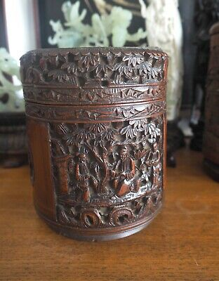 Authentique Ancien Pot Bambou Sculpté Chinois Carved Bamboo Brush Pot Qing China