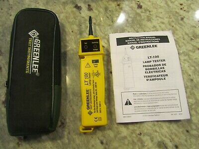Greenlee Lt-100 Lamp Tester, Manual W/Case