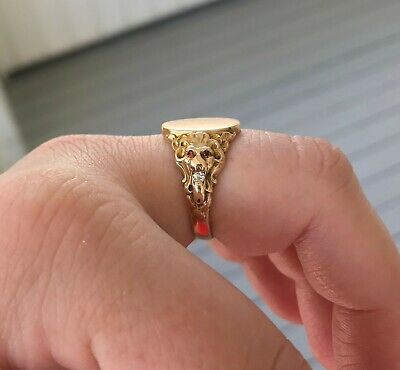 Victorian Lion's Head Signet Ring Diamond Ruby 10k Gold Antique Vintage Jewelry