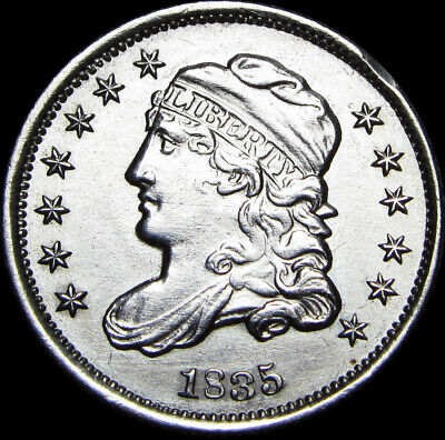 1835 Capped Bust Half Dime Silver Type Coin --- STUNNING ---- #Z781
