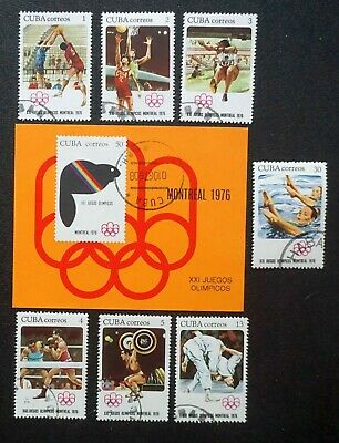 4Cuba  Sc# 2060-2067 MONTREAL SUMMER OLYMPIC GAMES Cpl set of 7 + SS  1976 used
