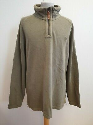 Gg959 Mens Fat Face Green L/Sleeve Cotton Zip Neck Jumper Uk L Eu 52 Baggy