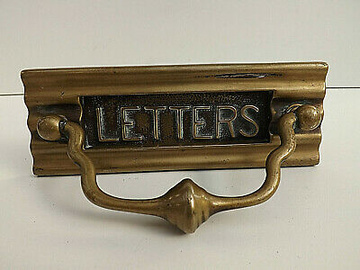 Victorian Cast Brass Letterbox with Pull Handle