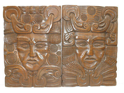Vntage Pair Of South Pacific Oceanic/New Zealand Carved Hardwood Wall Plaques
