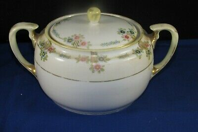 "Vintage 9"" Hand Painted Nippon ""M"" Wreath,Porcelain Serving Bowl-Dish+Lid-Handle"