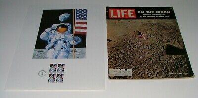 1994 USPS 25th ANNIV. OF THE MOON LANDING FIRST DAY SHEET 0.29 & 1969 LIFE MAG.