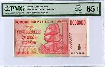 Zimbabwe 100 Million Dollars 2008 P 80 15Th Label Gem Unc Pmg 65 Epq