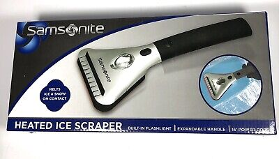 """Heated Ice Scraper With Light by Samsonite Expandable Handle 15"""" Cord New Sealed"""