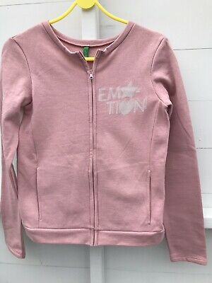 United Colors Of Benetton Pink And White Zip Up Sweat Top Girls  Size 2Xl