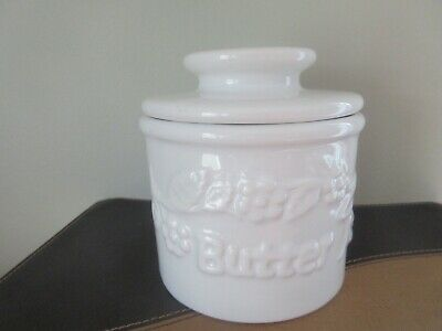 French BUTTER BEURRE BELL Crock Dish by L. Tremain- Farmhouse White Embossed