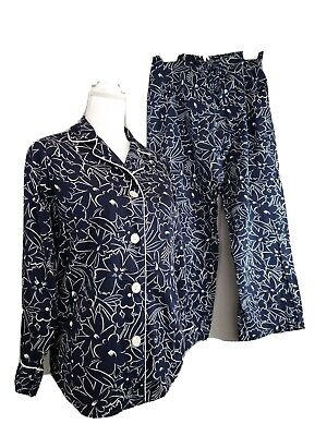 Lauren Ralph Lauren SIZE SMALL Cotton Pajama Set Navy Blue White Floral