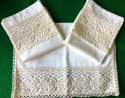 Cotton Twill and Lace Armchair Set Pair of SQUARE Arm Caps /& One Chair Back!