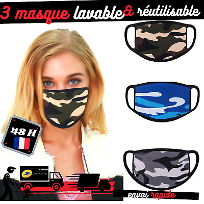 lot 3 Masque femme enfant unisex protection coton fin réspirable lavable FRANCE