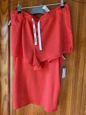Calvin Klein Women's Pyjama Set Large Shorts Strappy Top Built in Bra New Tags