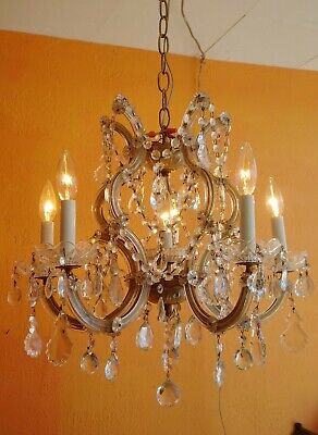 ANTIQUE ITALIAN 6 LIGHT CRYSTAL 5 Arms CHANDELIER MARIE THERESA VINTAGE LAMP