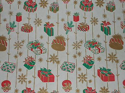 STORE WRAPPING PAPER GIFT WRAP 2 YDS 1930s VTG CHRISTMAS RED /& GOLD STRIPE DEPT