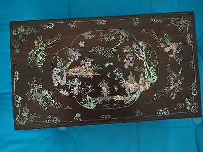 Ancienne Boîte Bois Nacre Tonkin Vietnamien Chinois Chine Mother of Pearl Box