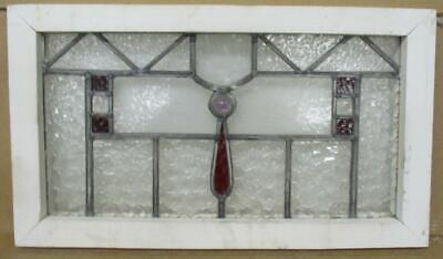 "OLD ENGLISH LEADED STAINED GLASS WINDOW Geometric with Jewel 23.5"" x 13.5"""