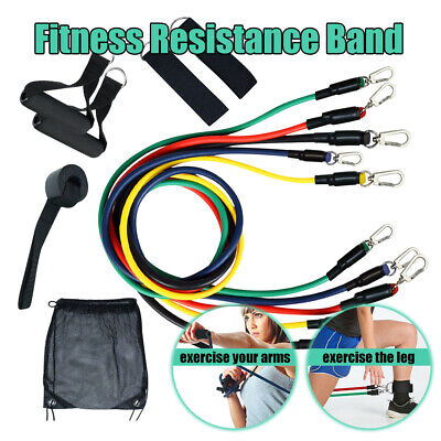 USPS Resistance Bands 11 piece Set Yoga Pilates Abs Exercise Tube Workout Straps
