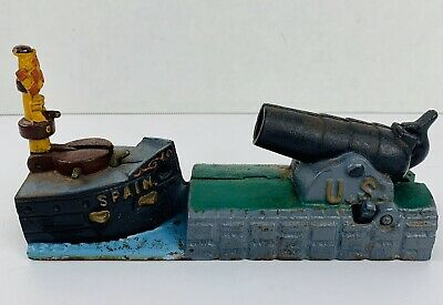 Book of Knowledge Bank US Cannon Spain VTG Reproduction Mechanical Bank WORKS