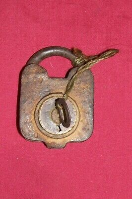 Antique Lock & Key Padlock Old Vintage Collector Collectible Pirate Chest Hasp
