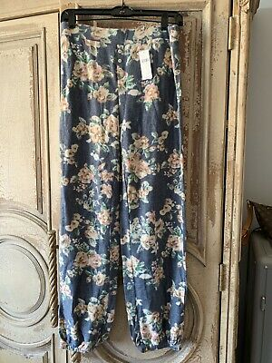 ANTHROPOLOGIE FLOREAT BLUE MULTICOLOR STAY IN SLEEP LOUNGE COMFY PANTS Sz S $78