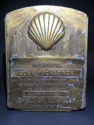 Vintage Shell Oil Company Recognition For 10 Years Service Gas Plant Antique Wow