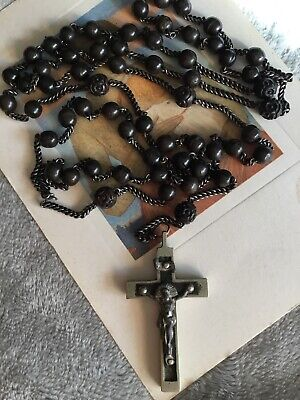 Art Deco silver chunky metal crucifix Brown carved Bakelite rosary beads