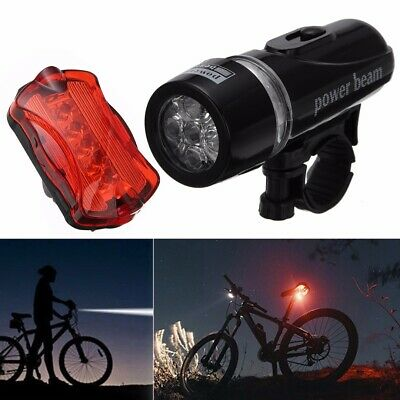 Light Head Tail Lights 5 LED Lamp Warning Safety Alarm Set Bicycle Cycle Bike