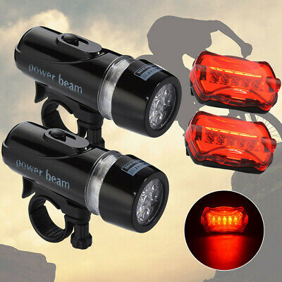 2Set Light Head Tail Lights 5 LED Lamp Warning Safety Alarm Set Bicycle Bike
