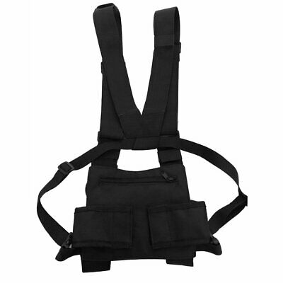 Nylon Military Vest Chest Pack Pouch Holster Tactical Walkie Talkie Waist CR