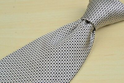 Luciano Barbera Beige Blue Woven 100% Silk Tie Made in Italy