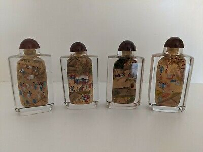 Reverse Inside Painted Chinese Community Riverscene Snuff Bottle Complete Set 4