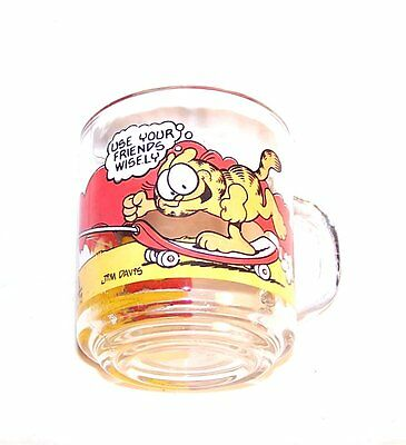 Vintage McDonalds Ronald McDonald Garfield Glass Happy Meal Toy Card Gift MkOfr
