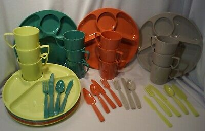 MCM Gothamware Made in USA Plastic Picnic Dishes for 8 Plus Extras (62)