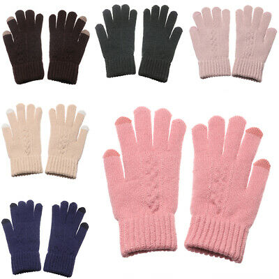 Warm Soft Cute Touch Screen Mittens Knitted Gloves Thicken Warm Full Finger