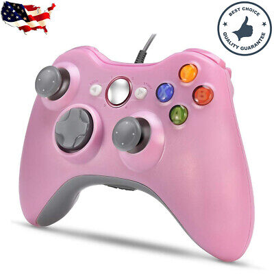 Pink Wired USB Game Controller Joystick for Microsoft Xbox 360 / PC Windows Sys