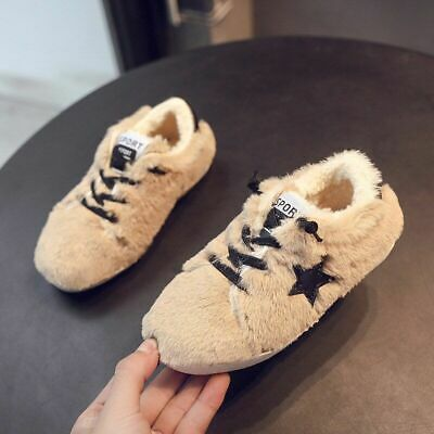 Kids Shoes Girls Sneakers Cotton Flat Loafers Plush Children Shoes