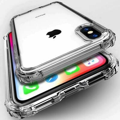 For iPhone XS/XS Max Silicone Clear TPU Rubber Case Cover+2 FREE Tempered Glass