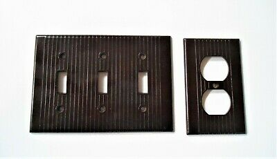 Vintage Brown Leviton Ribbed Bakelite  Triple Toggle Switch  Plate Cover