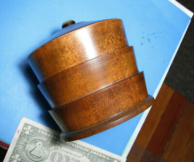 TEA CADDY Box Wood Box with LID TURNED WOODEN BOX