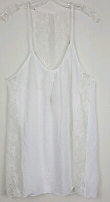 In Bloom By Jonquil Womens Sz L White Lace Trim Racerback Chemise Nightie