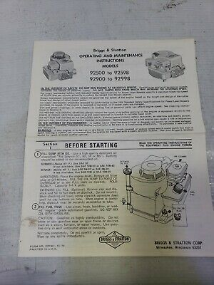 Briggs & Stratton Operating & Maintenance Instructions Models 92500-92598 92998
