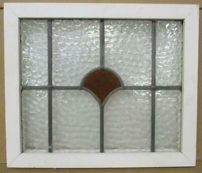 "OLD ENGLISH LEADED STAINED GLASS WINDOW Simple Fan Design 20.25"" x 17.25"""