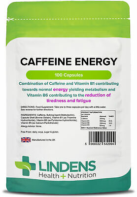Caffeine Energy 200mg 100 Capsules Sports Boost Health Supplements [2094]